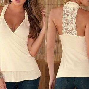 V-neck lace strip in back tank